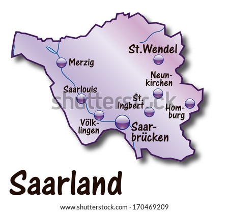 Map of Saarland as an overview map in violet