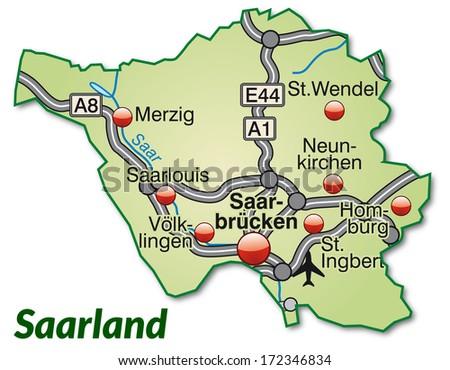 Map Saarland Highways Pastel Green Stock Illustration 172346834