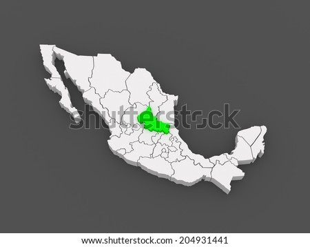 Map of San Luis Potosi. Mexico. 3d - stock photo