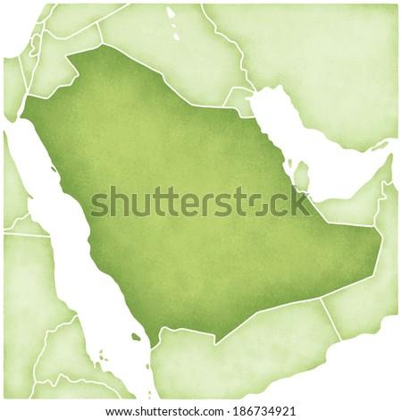 Map of Saudi Arabia - stock photo