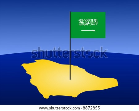 map of Saudi Arabia and their flag on pole illustration JPG