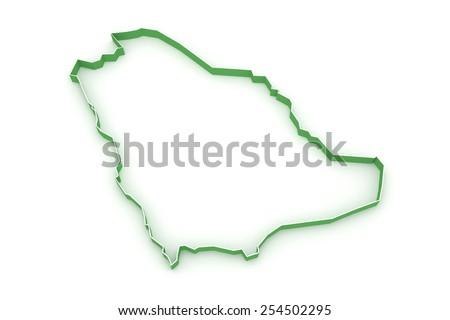 Map of Saudi Arabia. 3d - stock photo