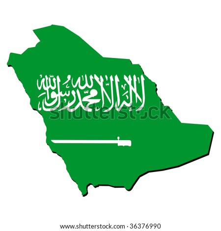 map of Saudi Arabia with their flag illustration JPEG