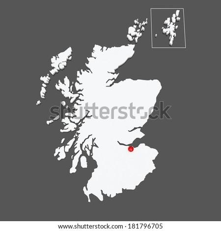 Map of Scotland. 3d - stock photo