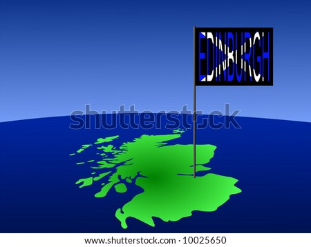 Map of Scotland with position of Edinburgh marked by flag pole illustration JPG