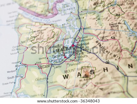 Map of Seattle - stock photo