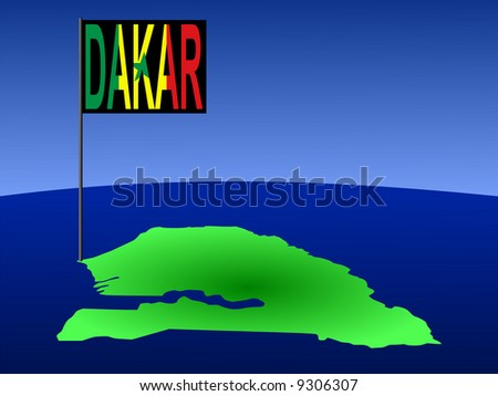 map of Senegal with position of Dakar marked by flag pole illustration JPG