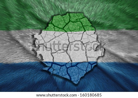 Map of Sierra Leone in National flag colors - stock photo