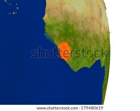 Map of Sierra Leone in red on planet Earth. 3D illustration with detailed planet surface. Elements of this image furnished by NASA.