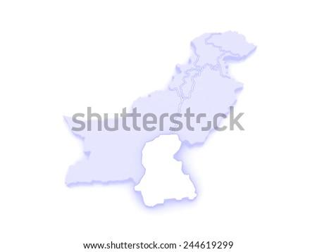 Map of Sindh. Pakistan. 3d - stock photo