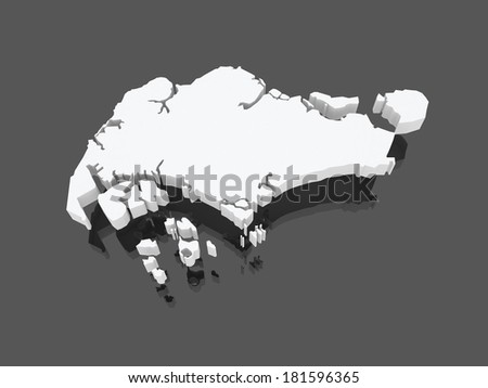 Map of Singapore. 3d - stock photo
