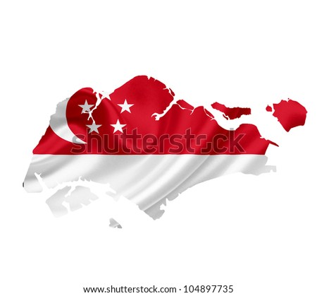 Map of Singapore with waving flag isolated on white - stock photo