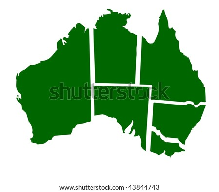 Map of six states of Australia, isolated on white background. - stock photo