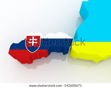 Map of Slovakia and Ukraine. 3d