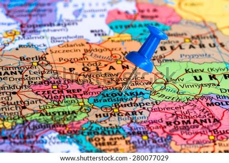 Map of slovakia with a blue pushpin stuck - stock photo