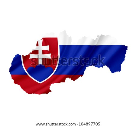 Map of Slovakia with waving flag isolated on white - stock photo