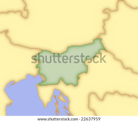 Map of Slovenia, with borders of surrounding countries. - stock photo