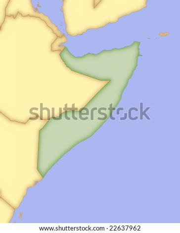 Map of Somalia, with borders of surrounding countries. - stock photo