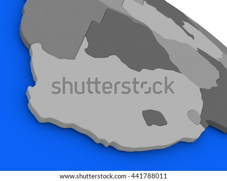Map of South Africa on 3D model of Earth with countries in various shades of grey and blue oceans. 3D illustration - stock photo