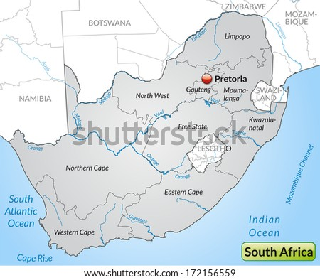 Map of South Africa with borders in gray