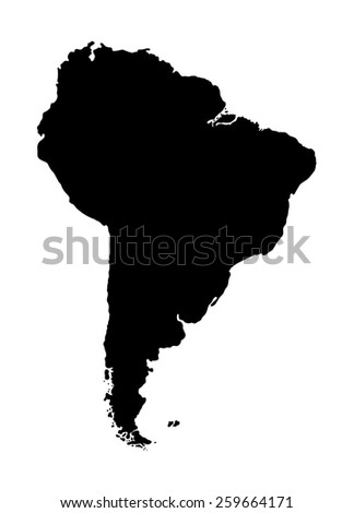 Map of South America. Black silhouette of the mainland on white background - stock photo
