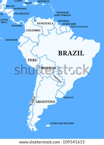 Map of South America on the blue background