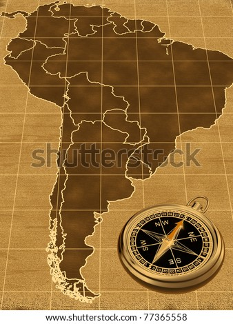 Map of South America on the old background  with compass - stock photo
