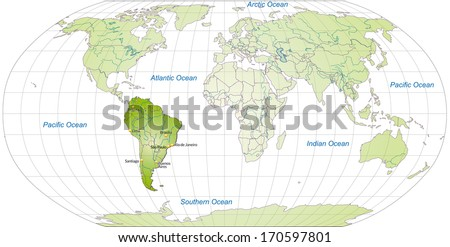 Map of South America with main cities in green - stock photo