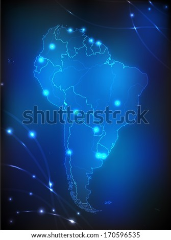 Map of South America with main cities with bright colors