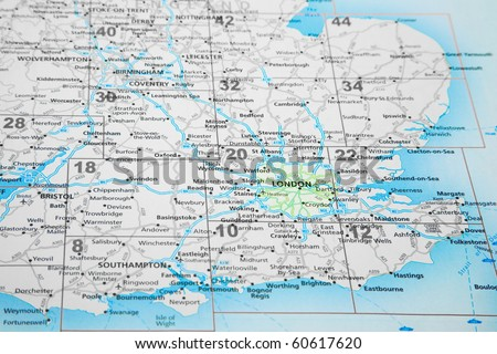 map of South East England with London highlighted - stock photo