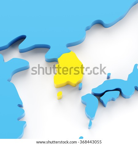 Map of South Korea highlighted in yellow, 3d render, white background
