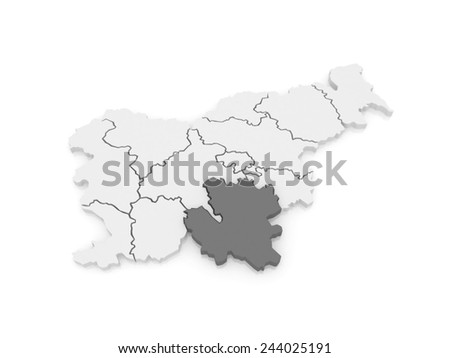 Map of Southeast Slovenia. 3d - stock photo