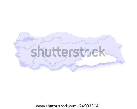 Map of Southeastern Anatolia. Turkey.  3d - stock photo