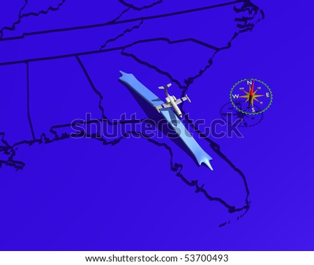 Map of Southeastern US showing jet and flight path from Georgia to Florida