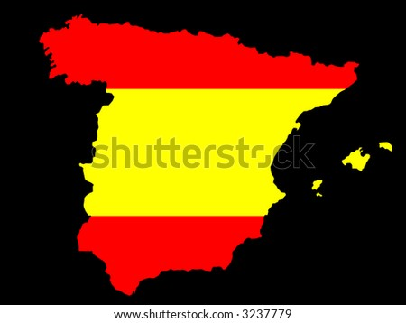 map of Spain and flag illustration