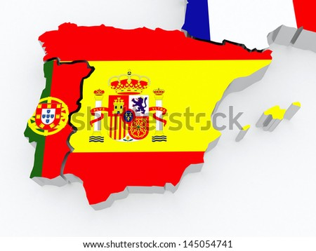 Map of Spain and Portugal. 3d - stock photo