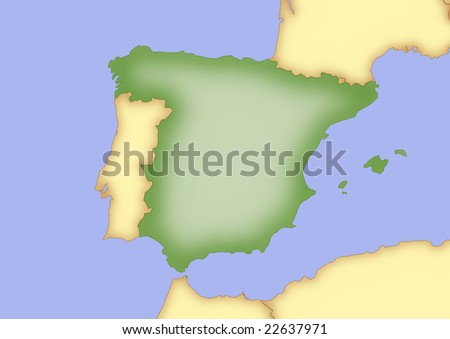 Map Spain Borders Surrounding Countries Stock Illustration 22637971 ...