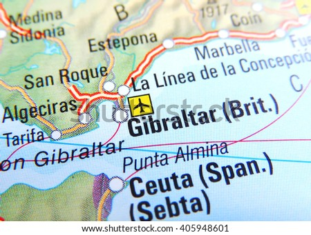 Map of Spain with focus on Gibraltar - stock photo