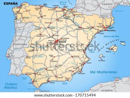 Map Spain Highways Pastel Orange Stock Illustration - Barakaldo map