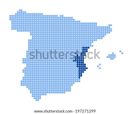 Map of Spain with stylized map of Valencia (Valencian Community) made from blue dots - stock photo