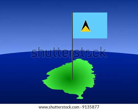 map of St Lucia and their flag on pole illustration JPG