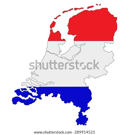 map of state Netherlands colored national flag - stock photo