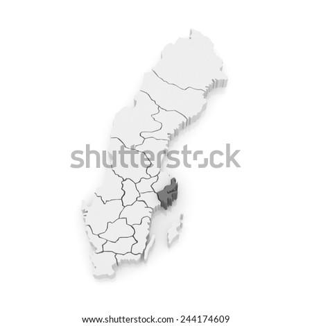 Map of Stockholm. Sweden. 3d - stock photo