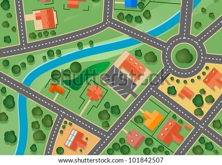 Map of suburb village for sold real estate design. Vector version also available in gallery