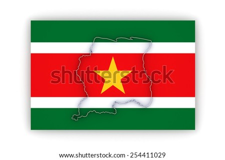 Map of Suriname. 3d - stock photo