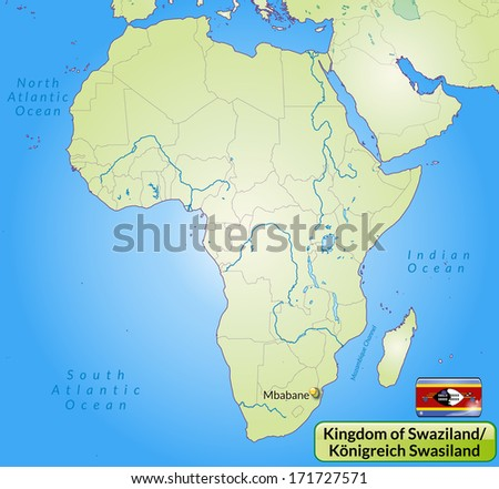 Map of Swaziland with main cities in green - stock photo