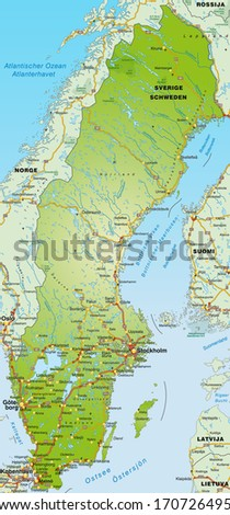 South Korea Physical Map Vector Illustration Stock Vector - Sweden highway map