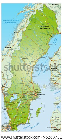 Map of Sweden with highways and the surrounding area - stock photo