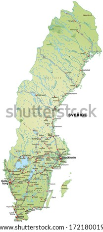 High detailed sweden physical map labeling vectores en stock map of sweden with highways in pastel green gumiabroncs Images