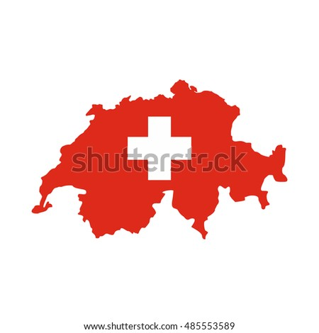 Map of Switzerland icon in flat style isolated on white background. State symbol